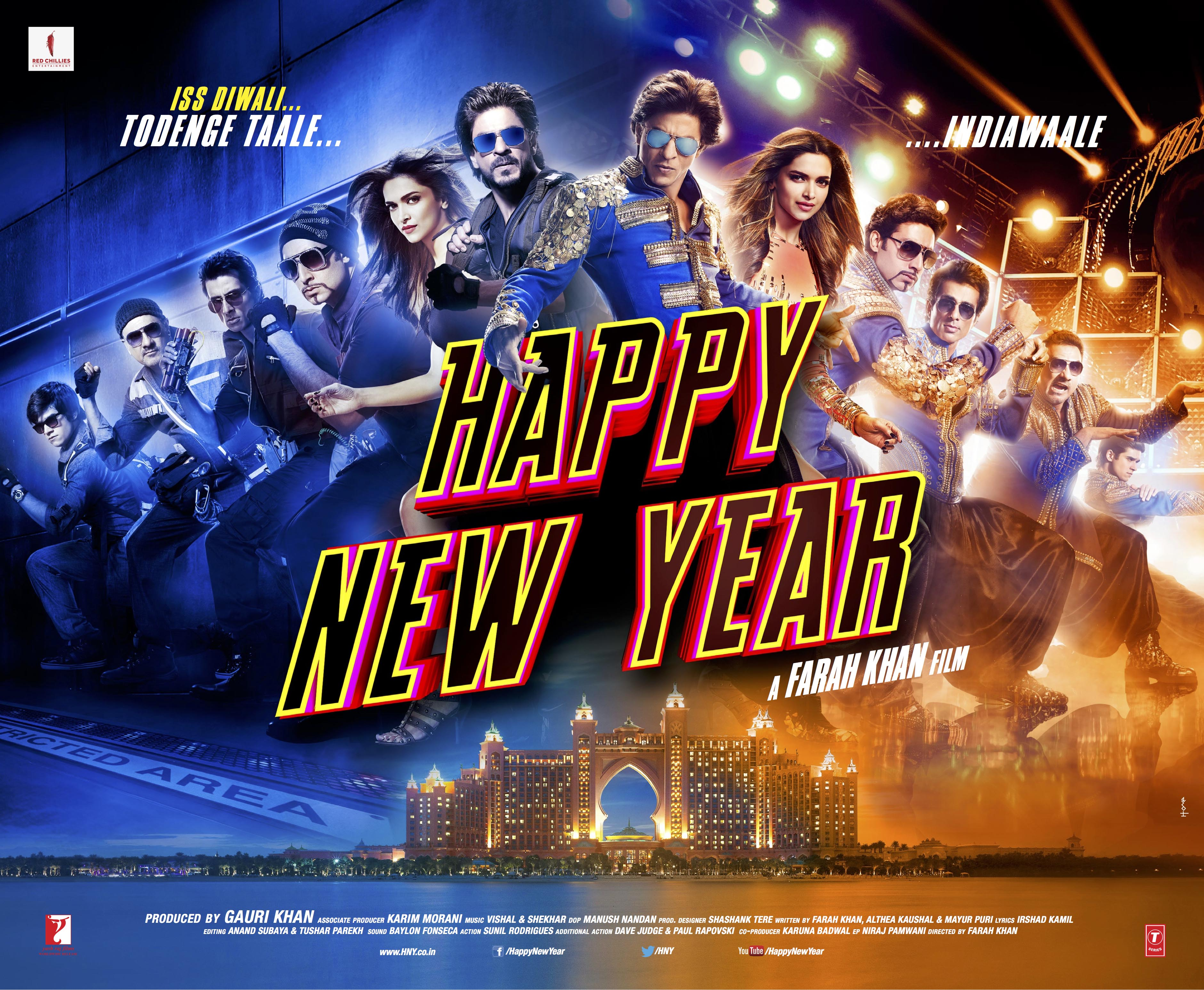 Happy New Year Movie Poster Shahrukh Khan, Deepika Padukone - Full HD Wallpaper