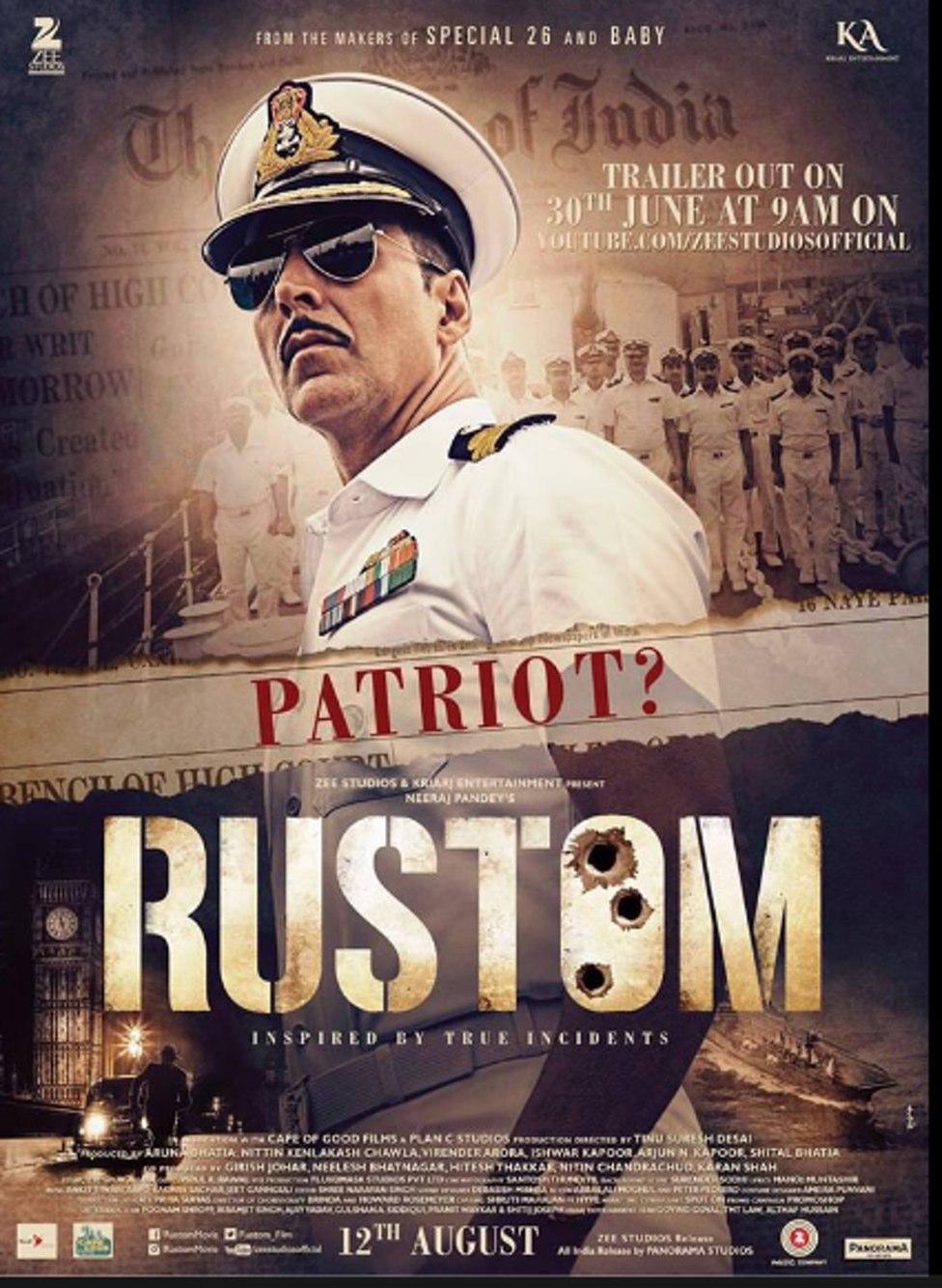 Rustom Movie Poster - Akshay Kumar - Full HD Wallpaper