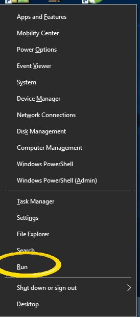 Open Run From The Power Menu - Windows + X - Windows 10
