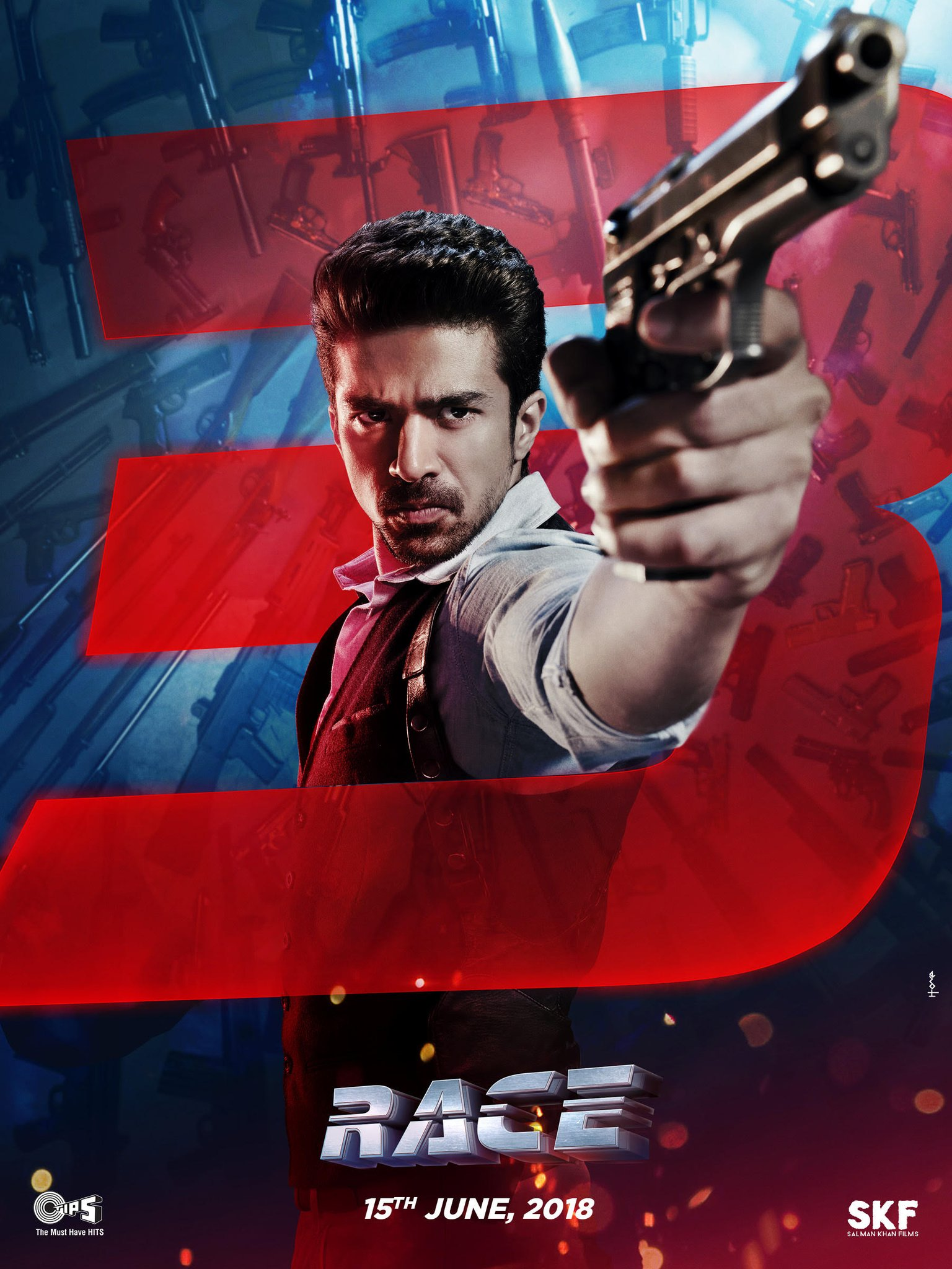 Saqib Saleem as Suraj - The Angry Young Man - Race 3 Poster